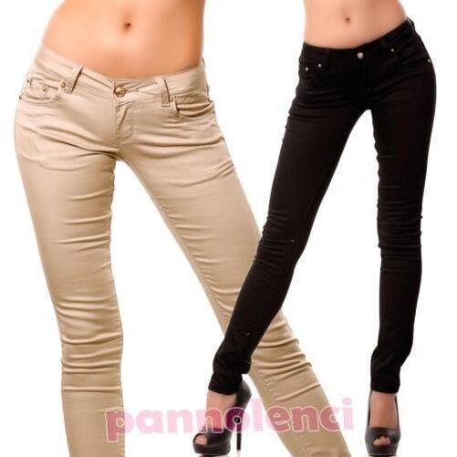 Women's trousers gabardine cotton members elasticated skinny new 671-3