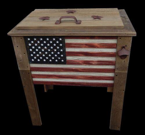 Rustic Wooden Flag 57 Quart Deck Cooler Wood Patio Pool Party Outdoor Patriotic