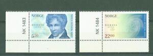Norwegen-2002-Nordia-Briefmarkenausstellung-Nr-1448-49-Eckrand-mit-Nummer