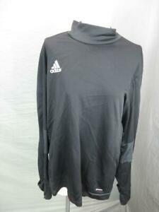 ADIDAS-SIZE-L-MENS-BLACK-ATHLETIC-CLIMACOOL-LONG-SLEEVE-MOCK-NECK-TOP-T773