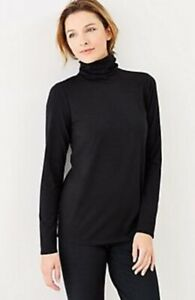 NEW-PURE-J-JILL-1X-4X-Relaxed-Turtleneck-Pima-Cotton-Spandex-L-S-Black