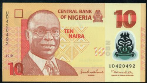 10  NAIRA  2010 P 39b Polymer LOT 2 PCS  Uncirculated NIGERIA