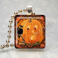 VINTAGE HALLOWEEN OWL JOL JACK O LANTERN Scrabble Tile Pendant Jewelry Charm