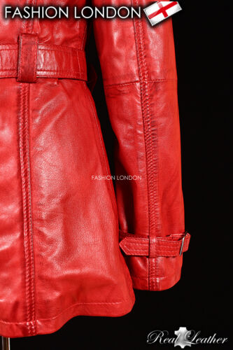 /'VENICE/' Ladies Wax Red Real Lambskin Leather TRENCH COAT Belted Stylish Jacket
