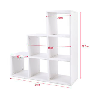 UK 6 Grids 3 Tiers Storage Cube Display Shelf Modern Wooden