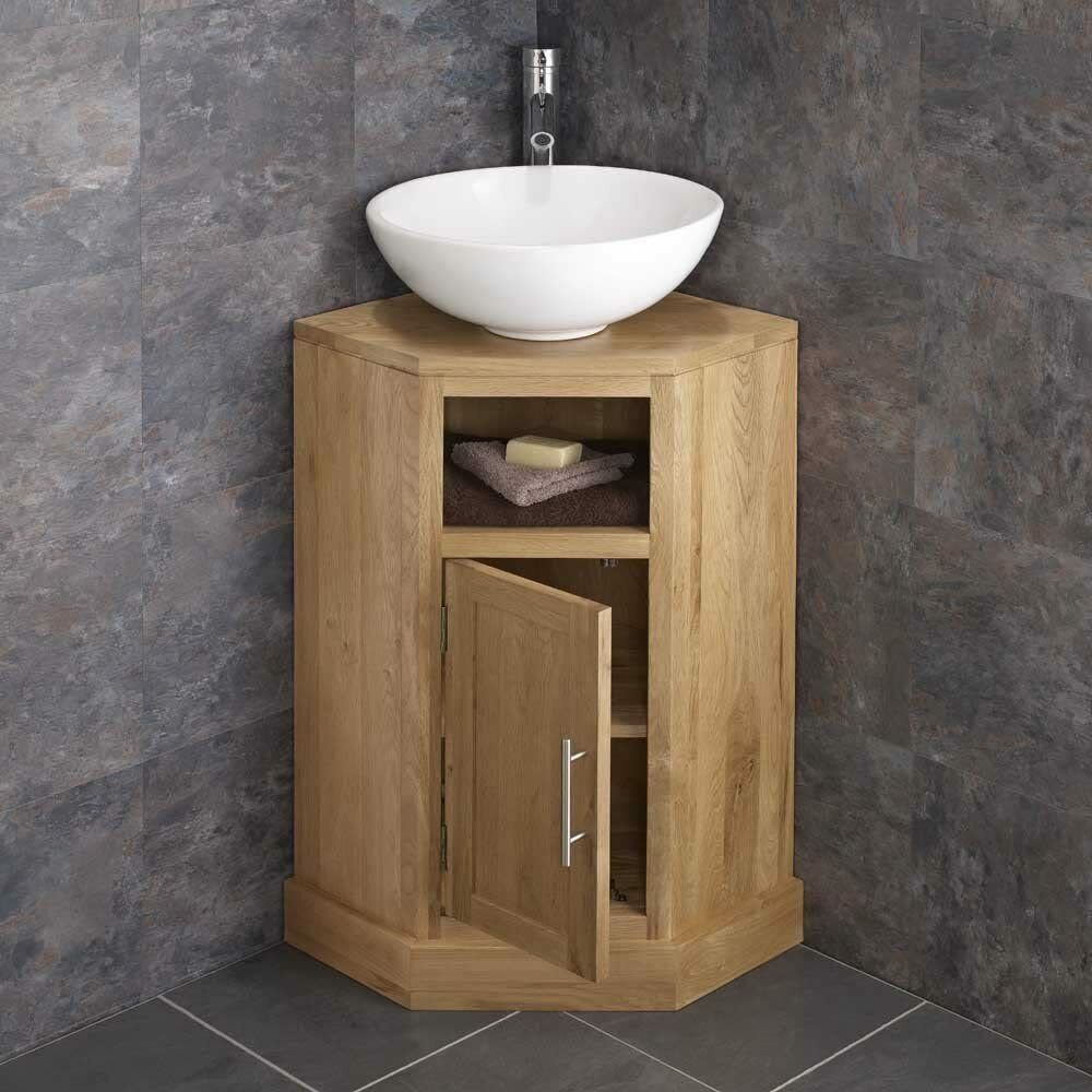 Clickbasin Solid Oak Corner Vanity Unit From Our Alta Range With Circular Glass For Sale Ebay