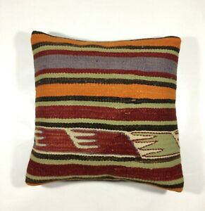 16x16 Vintage Handwoven Colorful Striped Turkish Kilim Pillow cover