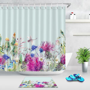 Image Is Loading Summer Watercolor Floral Shower Curtain Waterproof Fabric Bathroom