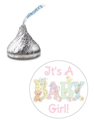 108 ITS A GIRL BABY SHOWER PASTEL HERSHEY KISS KISSES CANDY LABELS FAVORS