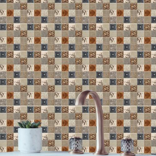 Bathroom Kitchen 3D Tile Mosaic Sticker Self-adhesive Wall Home Decor Waterproof