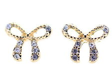 Gold tone bow stud earrings with sparkly jewels