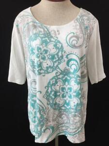 Karen-Scott-knit-top-size-2XL-XXL-short-sleeve-blue-white-sequin-swirl-design