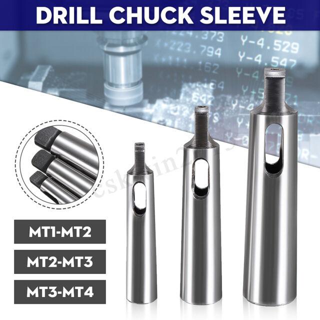 3x Set MT1-MT2 MT-2-MT3 MT3-MT4 MORSE RASTREMAZIONE Adattatore di riduzione trapano Chuck Manica