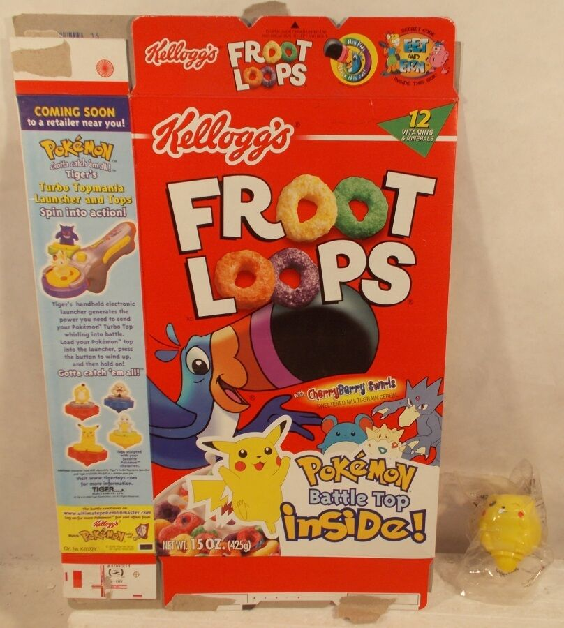 Pokemon Pikachu Battle Top Top Top (Sealed) With Kellogg's Froot Loops Cereal Box 325d17