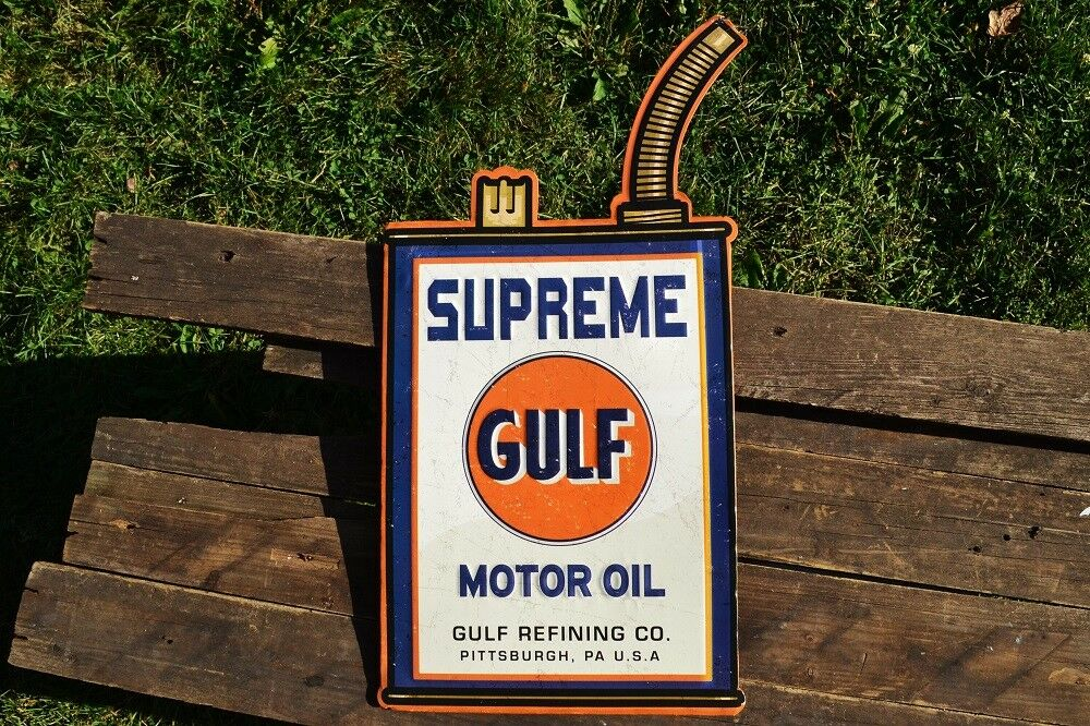 Gasoline Gas Gulf Supreme Motor Oil Can Corrugated Aluminium Metal Sign