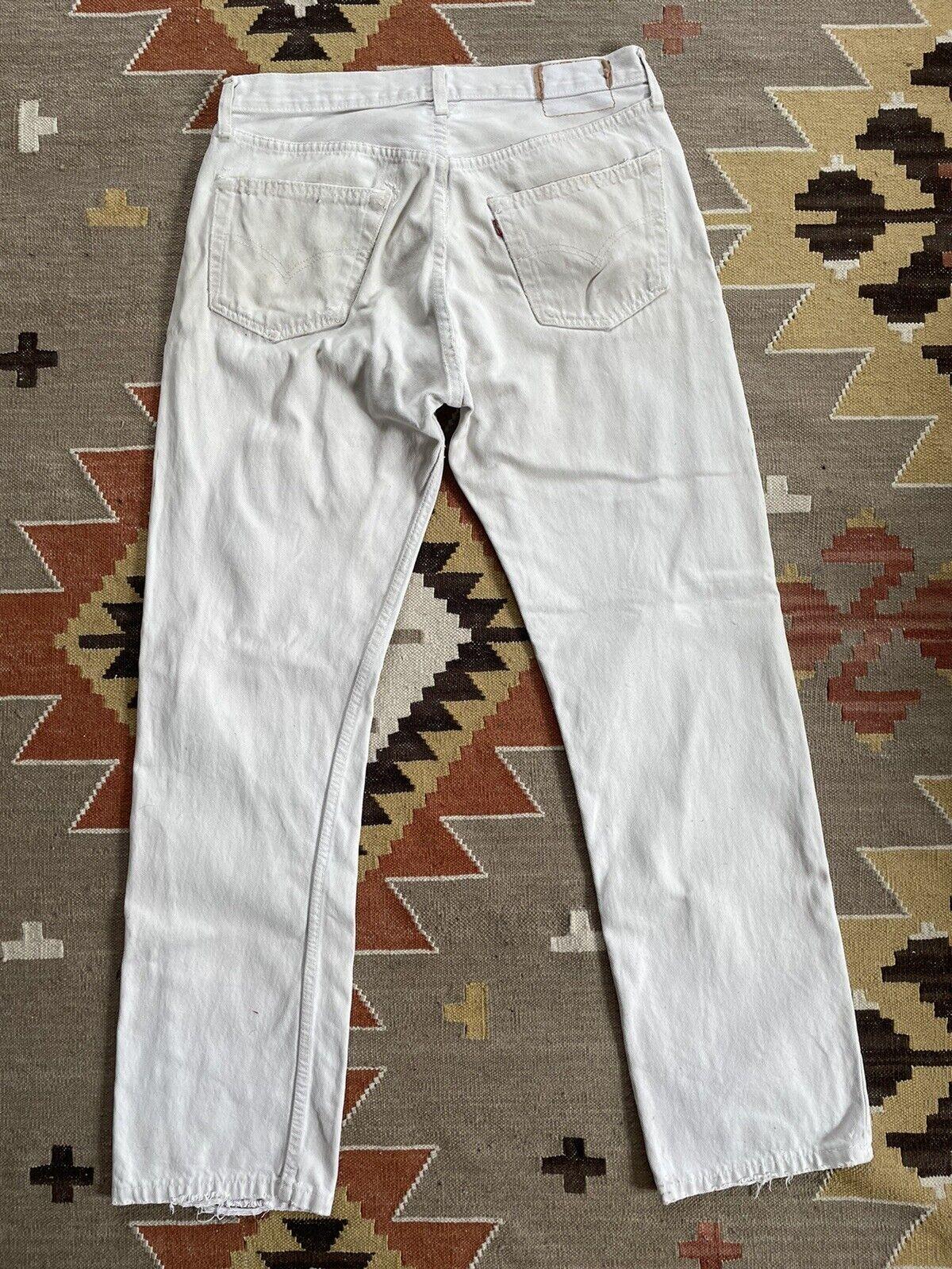 Vintage Levi's 501 Custom Distressed White Denim … - image 7