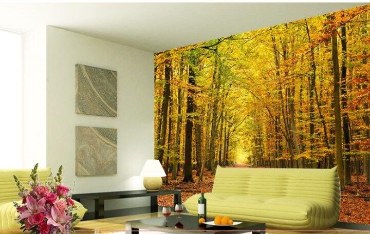 3D Gelbes Holz, LAUB 8 Fototapeten Wandbild Fototapete BildTapete Familie DE