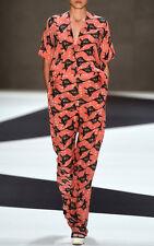 IOANA CIOLACU $800 baggy slouchy redhood bird print silk wide leg pants 2/34 NEW