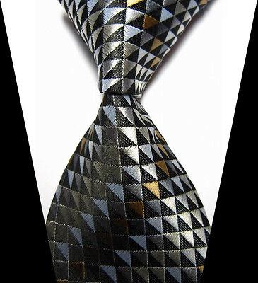 New Classic Black&Gray Plaids Tie WOVEN JACQUARD Silk Men's Suits Ties Necktie