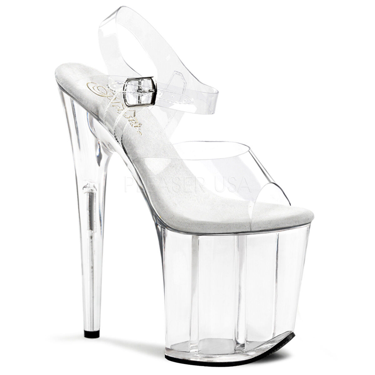 PLEASER Sexy Sexy Sexy Stripper Dancer shoes Clear Tall Platform 8  High Heels FLAM808 C M f813b1