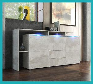 Dettagli su Moderno mobile soggiorno design credenza cassettone buffet  calcestruzzo look