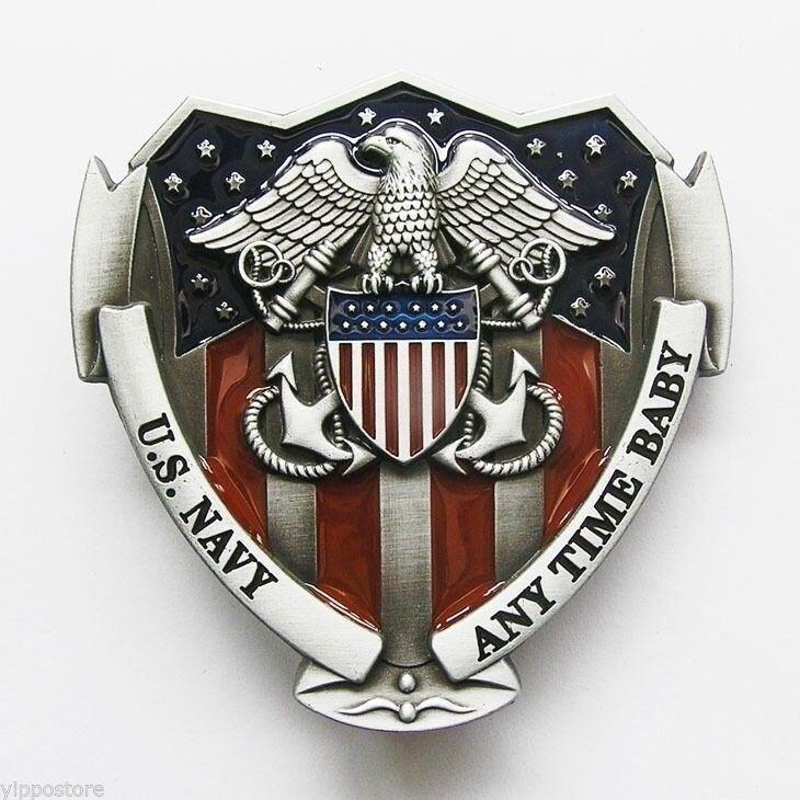 USN U.S. Navy Military w/ Color Belt Buckle