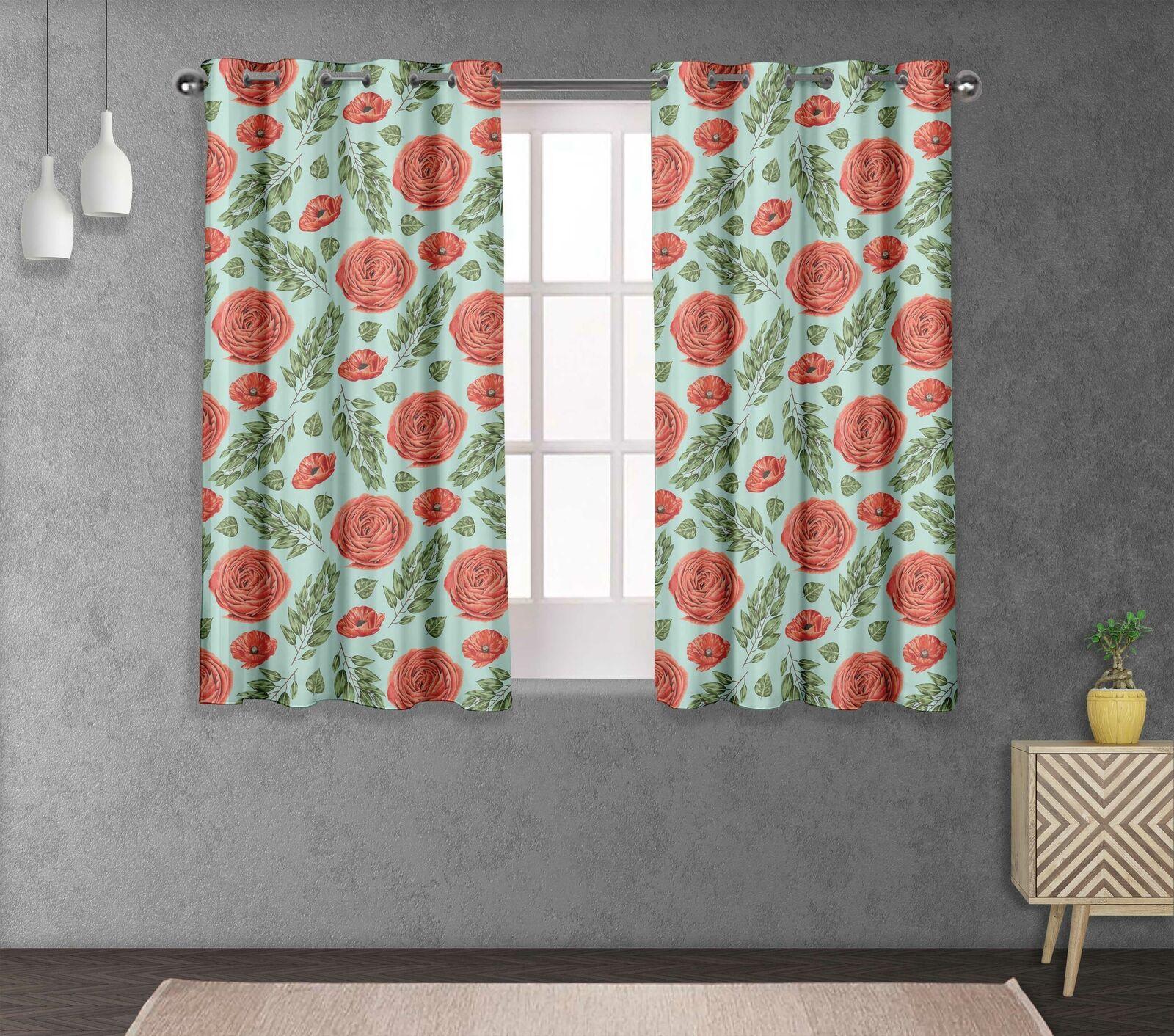 S 4 Sassy hojas de laurel & Camelias Decoración del hogar Panel de cortina corta y larga-FL-863E
