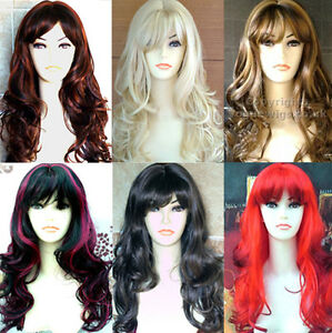 Ladies-Fashion-Wig-Wavy-Curly-Blonde-Black-Brown-Red-Wigs-Forever-Young-Wig-Hair