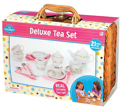Deluxe Ceramic Tea Set with Basket Playset Kids preted play Fun tea party