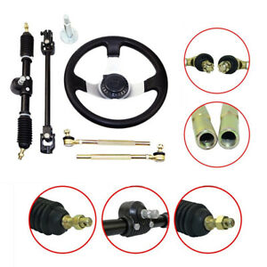 Steering Wheel Assembly Set For 110cc Go Kart Shaft Tie Rod Steering Rack& Shaft