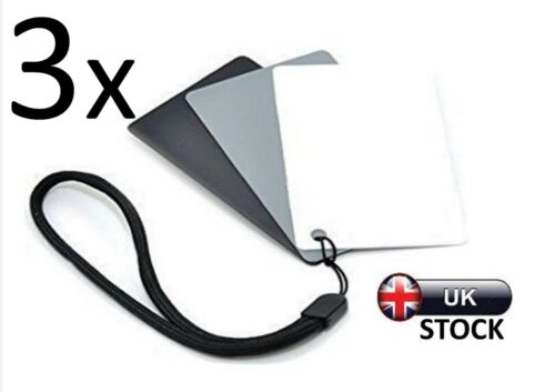 3 x 18/% Grey Cards Seconds Photography Digital Black White Colour Balance Camera