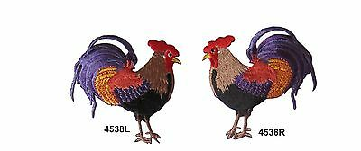 #4538S Left,Right Cock,Rooster Embroidery Iron On Applique Patch