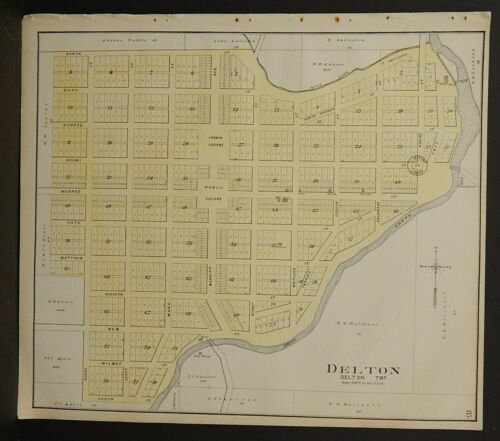 Wisconsin Sauk County Map Delton 1906 J25#31
