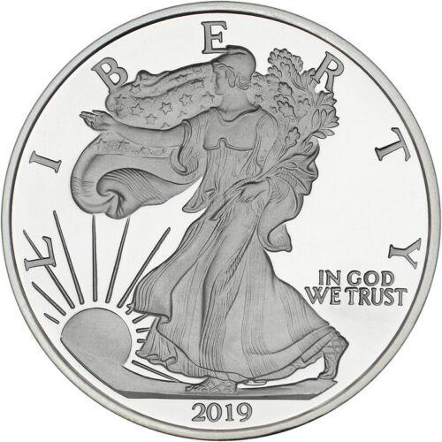 2019 American Eagle 5 oz .999 Silver USA Made BU Round In Heat Sealed Plastic
