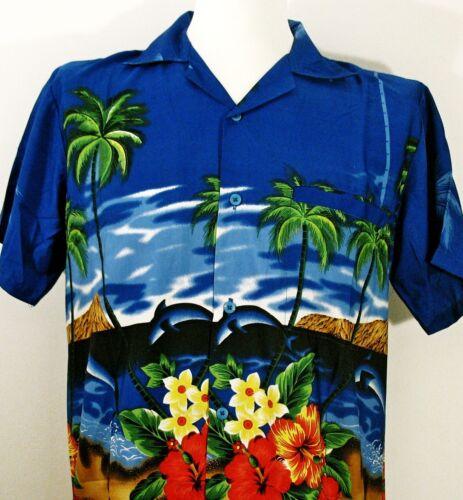 rose pour party Hawaiian shirts Dolphin Palm bleu rouge vert casual wear