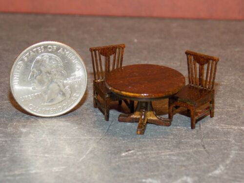 Dollhouse Miniature Wood Round Table 2 Chairs 1:48 1//4 inch A19 Dollys Gallery
