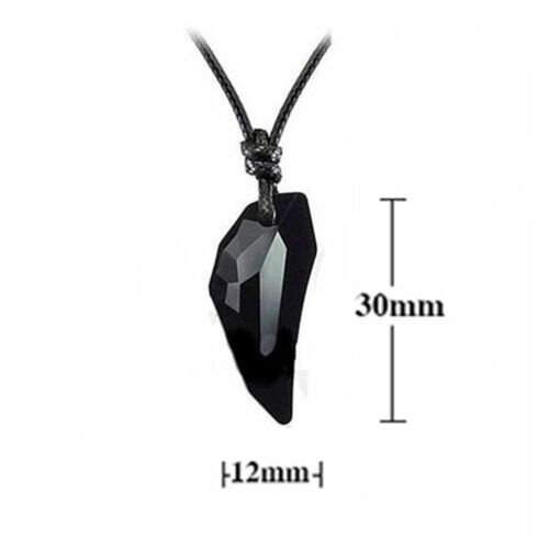Fashion Men Women Black Crystal Geometric Pendant Necklace Couple Jewelry