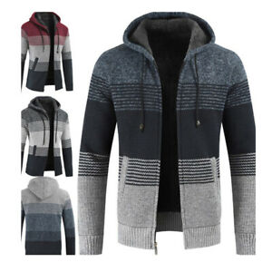 Mens-Knitted-Hoodies-Zip-Cardigan-Thick-Jumper-Jacket-Wool-Warm-Winter-Sweater