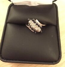 Ladies 10K White Gold Waterfall Blue Sapphire & Diamond Ring size 5