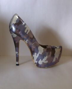 47c3ed9d28f14 Details about Silver camoflage stiletto heels, Sergio Todzi, UK size 5