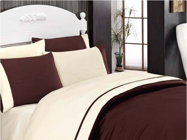 Bettwäsche 200x220 cm Bettgarnitur Bettbezug Satin 100% Baumwolle GELB BRAUN
