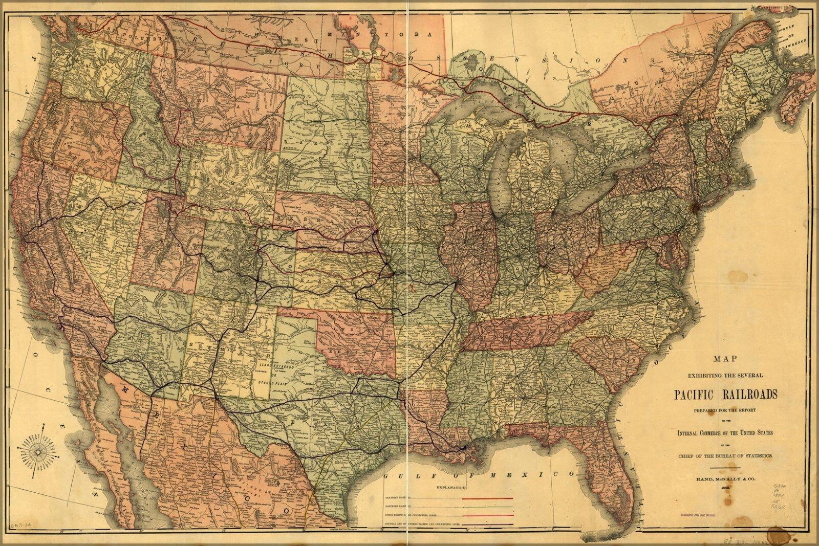 Poster, Many Größes; Map Of Transcontinental Railroads 1883