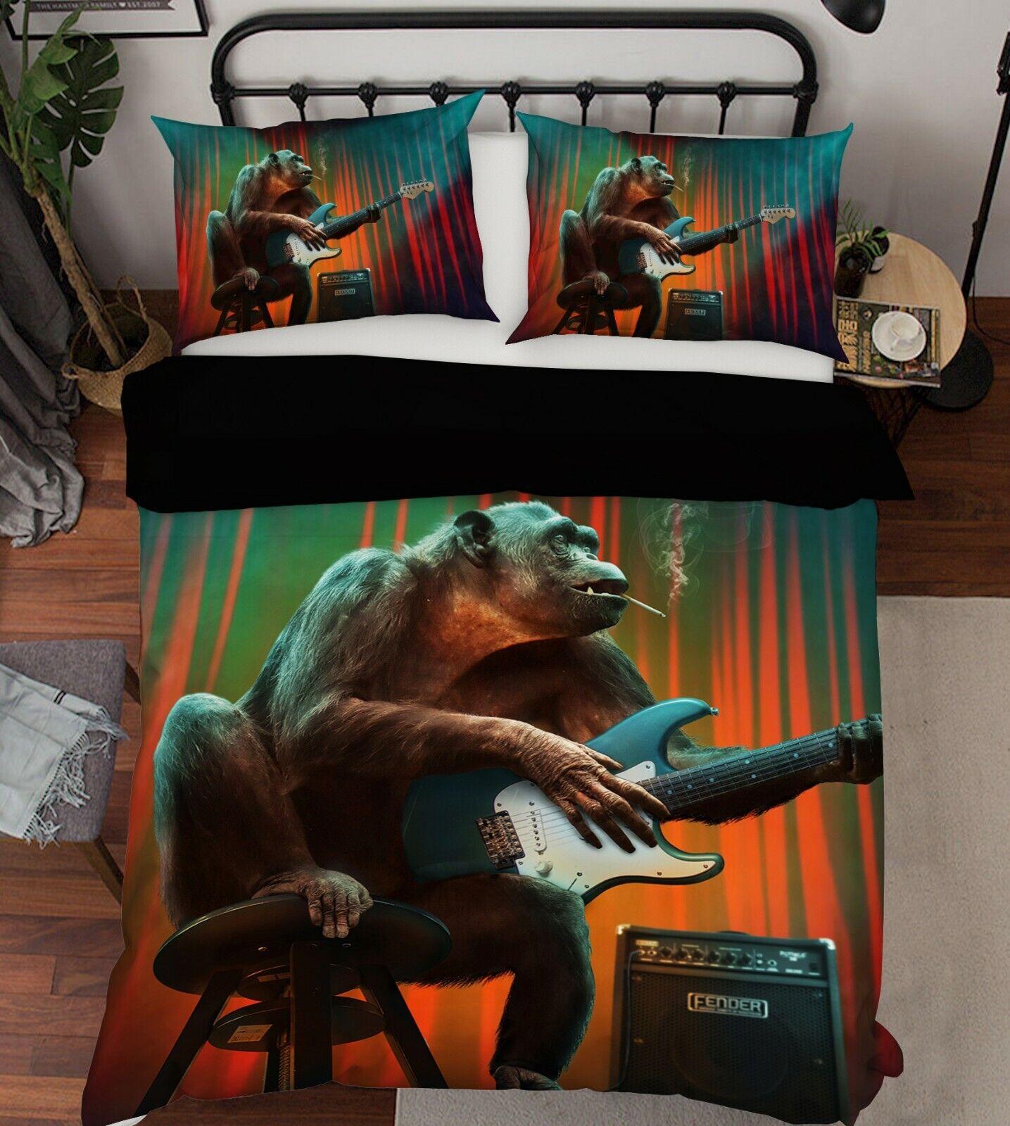 3D Orangutan N79 Animal Bed Pillowcases Quilt Duvet Cover Queen King Amy