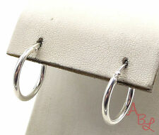 Sterling Silver Vintage 925 Shiny Round Small Hoop Earrings (2g) - 553799