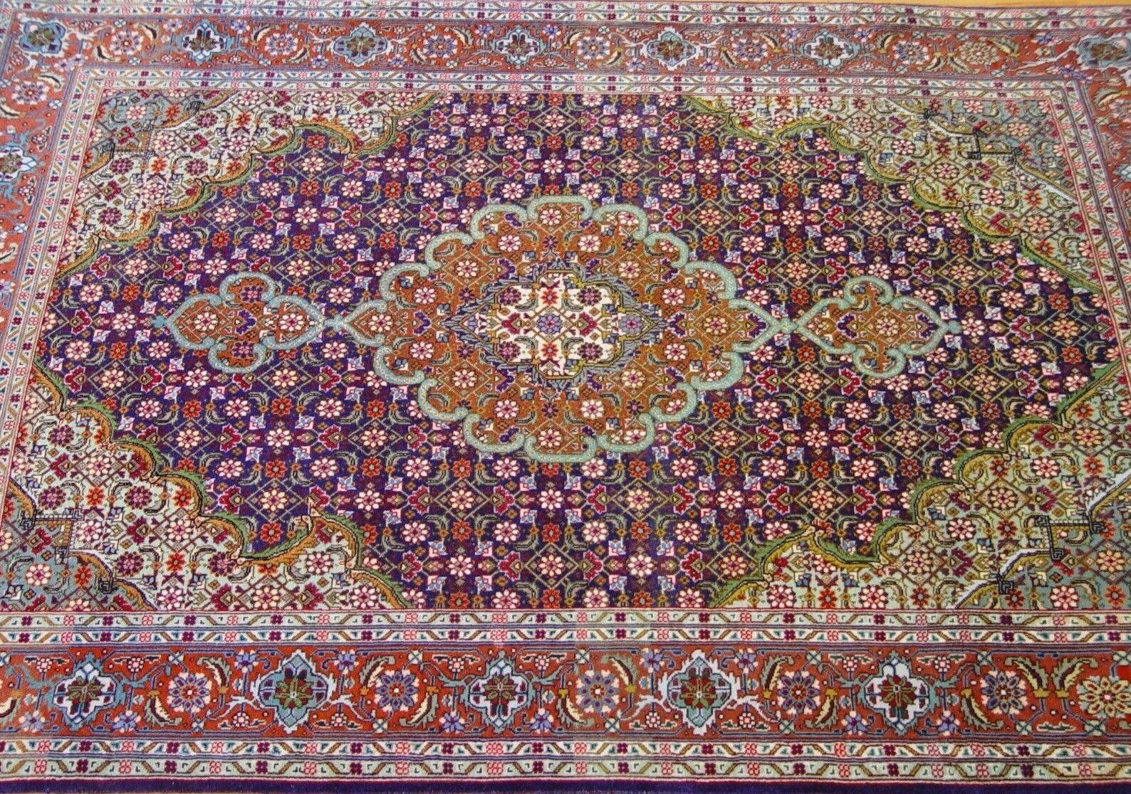 3'2 3'2 3'2  x 4'6  Premium Quality Vintage Tebriz Hand Made 100% Silk Wool Oriental Rug 91736b
