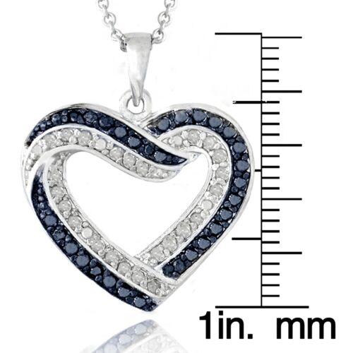 0.50 Ct TDW Bleu /& Blanc Diamant Cœur Ouvert Collier en laiton