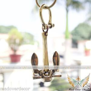 MARITIME NAUTICAL VINTAGE SHIP ANCHOR WITH HANDCUFF CHAIN KEY RING COLLECTIBLE