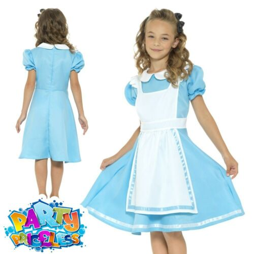 Kids Alice Costume Girls Boys Wonderland Fancy Dress Book Week Day Outfit