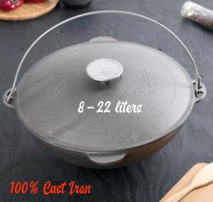 Original biol Cast Iron Ouzbek 22L+ Fonte Couvercle 100/% en fonte tatar Kazan 8 L
