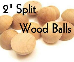 SPLIT-WOOD-BALLS-2-034-Dia-Unfinished-Hardwood-for-Crafts-LOT-of-5-by-PLD